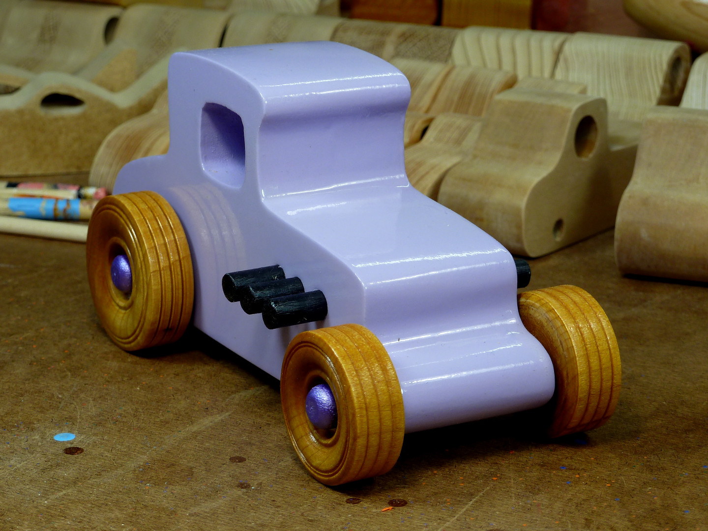 20170522-190053 Wooden Toy Car - Hot Rod Freaky Ford - 27 T Coupe - MDF - Lavender - Amber Shellac - Metallic Purple 01.jpg