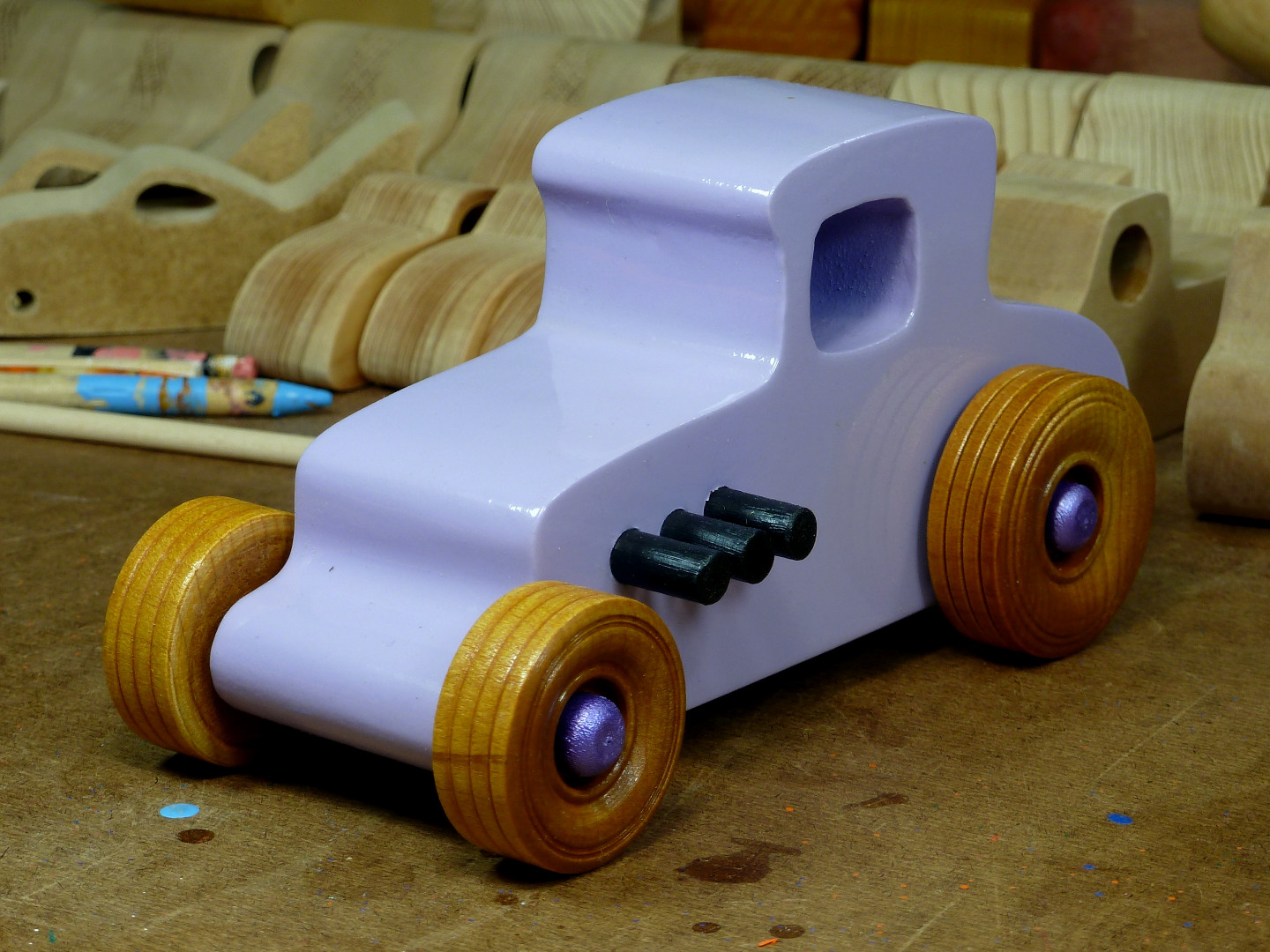 20170522-190114 Wooden Toy Car - Hot Rod Freaky Ford - 27 T Coupe - MDF - Lavender - Amber Shellac - Metallic Purple 02.jpg