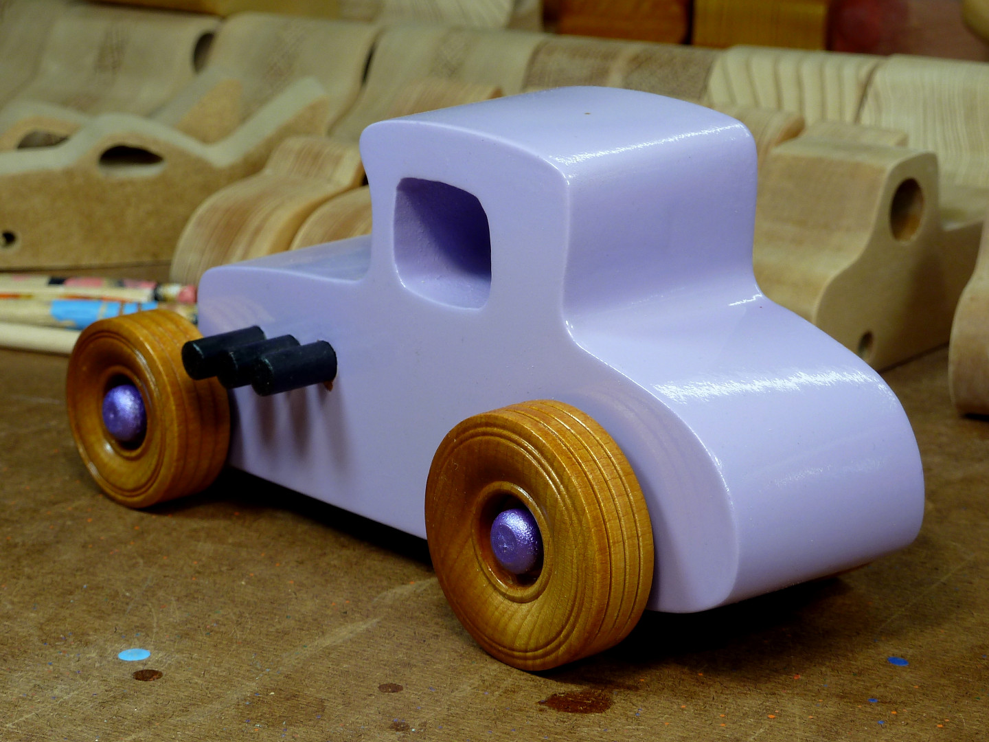 20170522-190250 Wooden Toy Car - Hot Rod Freaky Ford - 27 T Coupe - MDF - Lavender - Amber Shellac - Metallic Purple 06.jpg