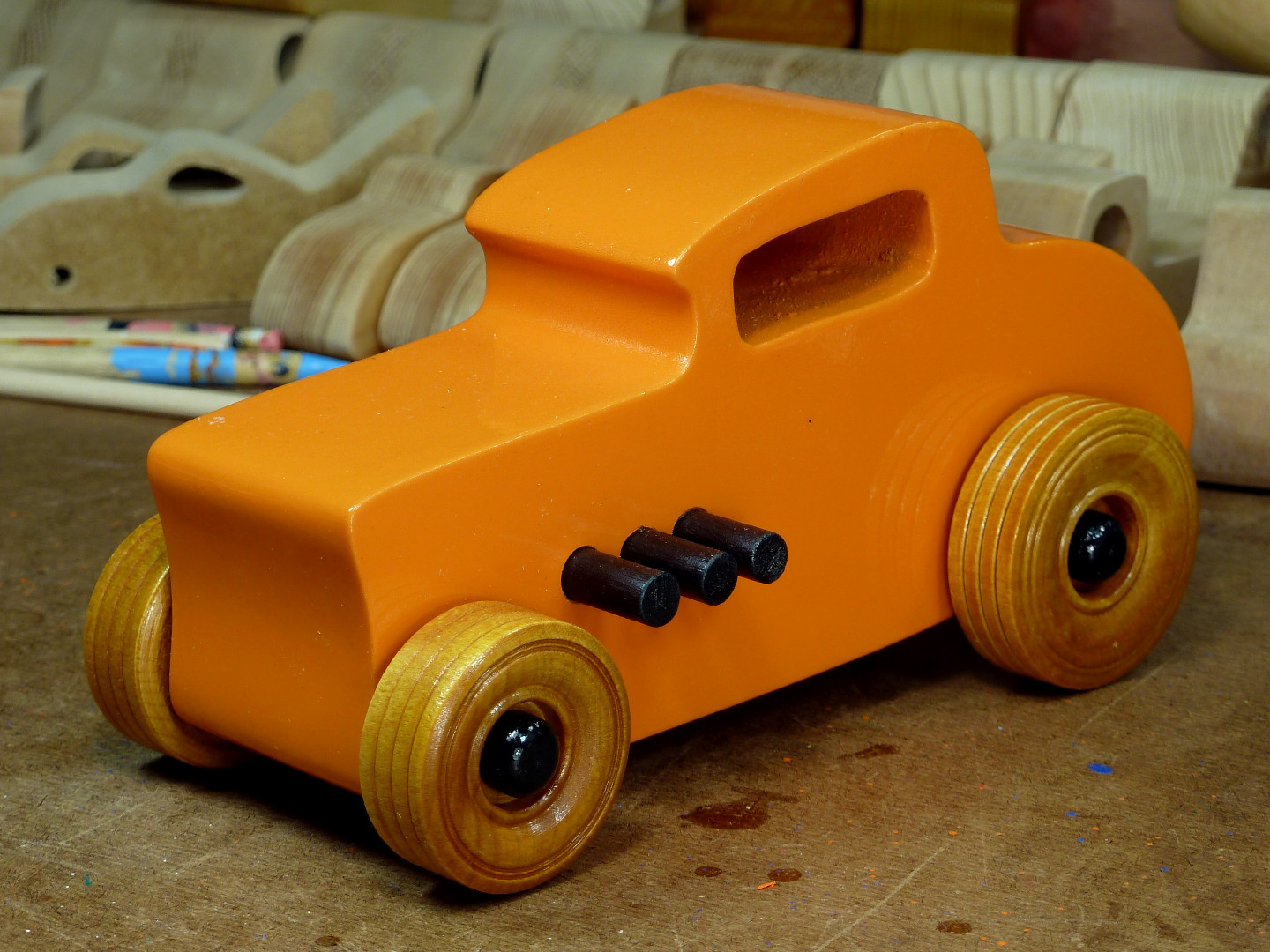 20170522-191843 Wooden Toy Car - Hot Rod Freaky Ford - 32 Deuce Coupe - MDF - Orange - Amber Shellac - Black.jpg