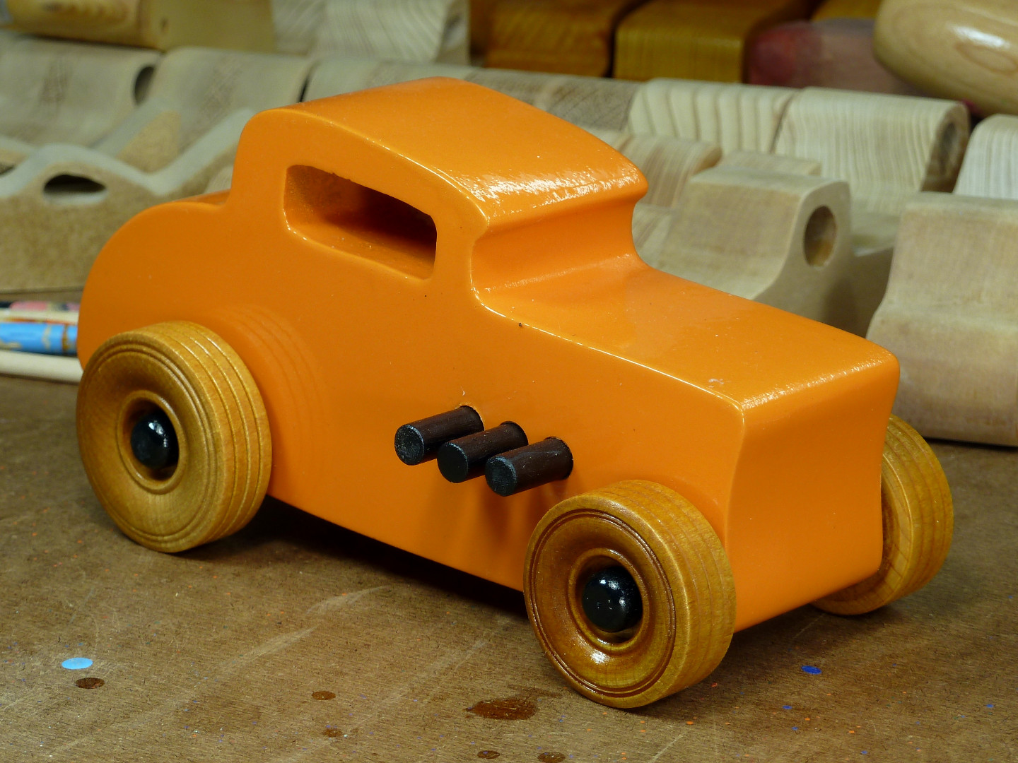 20170522-191904 Wooden Toy Car - Hot Rod Freaky Ford - 32 Deuce Coupe - MDF - Orange - Amber Shellac - Black.jpg