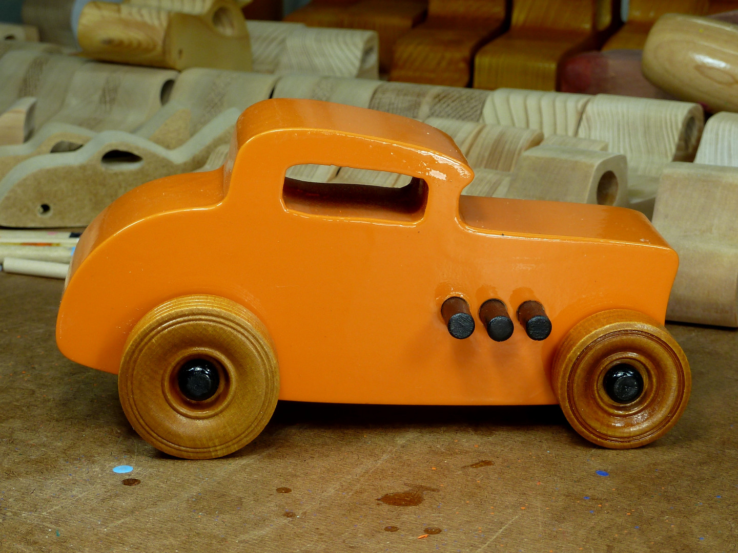 20170522-191930 Wooden Toy Car - Hot Rod Freaky Ford - 32 Deuce Coupe - MDF - Orange - Amber Shellac - Black.jpg