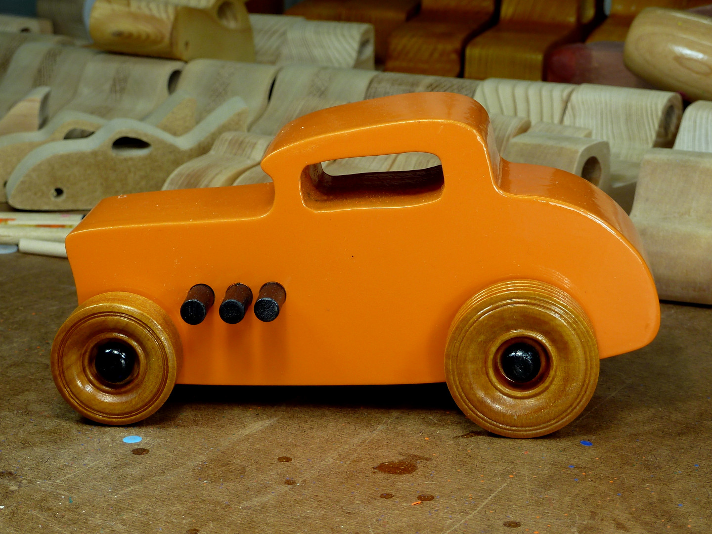 20170522-191949 Wooden Toy Car - Hot Rod Freaky Ford - 32 Deuce Coupe - MDF - Orange - Amber Shellac - Black.jpg