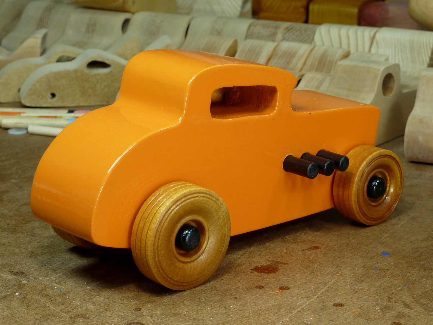 20170522-192100 Wooden Toy Car - Hot Rod Freaky Ford - 32 Deuce Coupe - MDF - Orange - Amber Shellac - Black.jpg