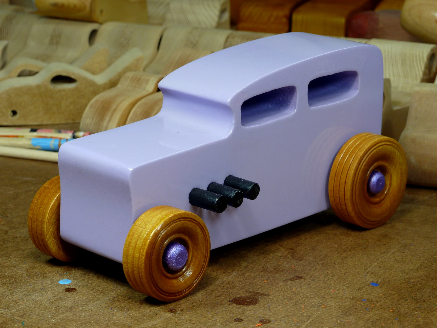 20170522-185746 Wooden Toy Car - Hot Rod Freaky Ford - 32 Sedan - MDF - Lavender - Amber Shellac - Metallic Purple 01.jpg