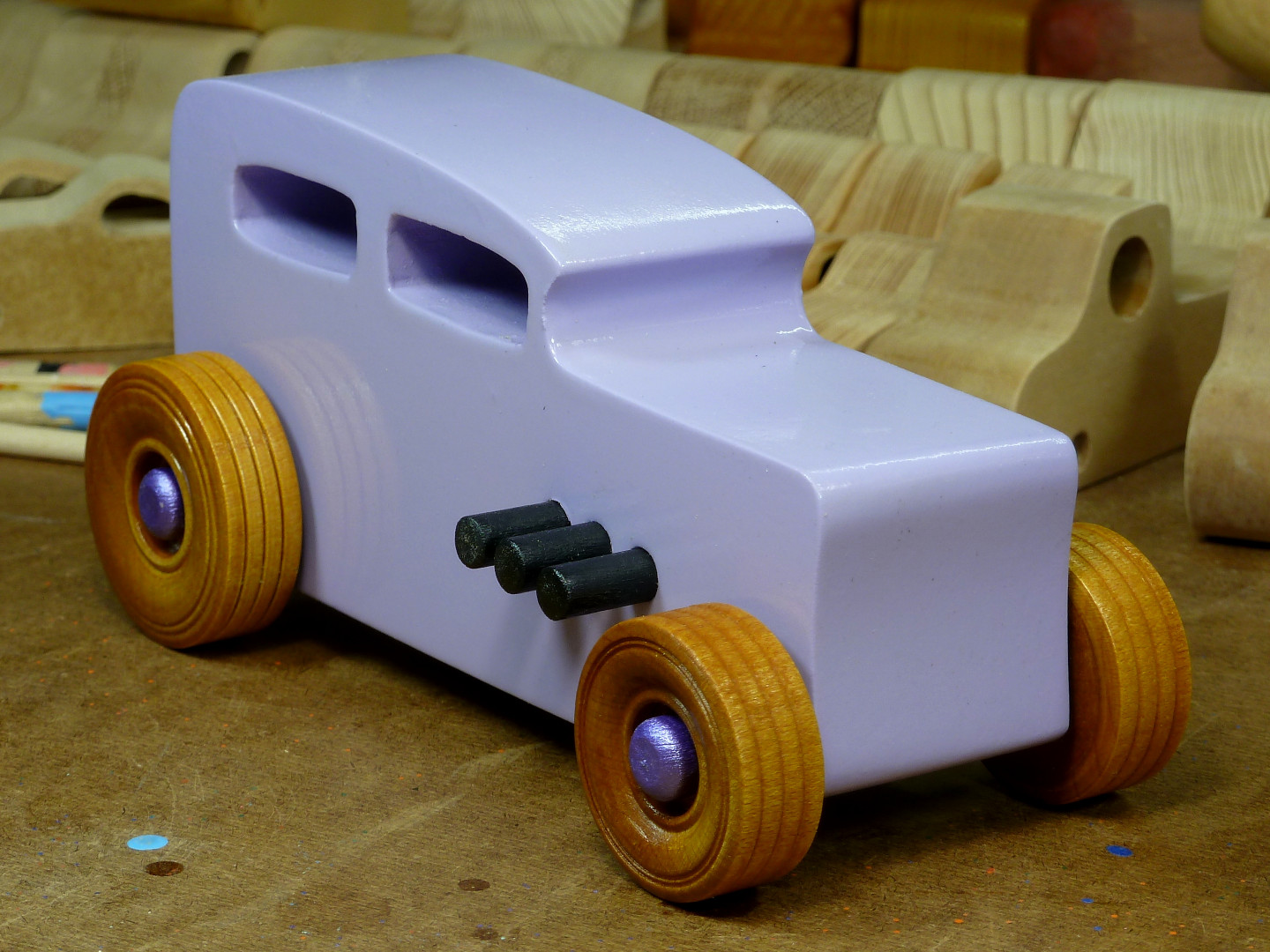 20170522-185805 Wooden Toy Car - Hot Rod Freaky Ford - 32 Sedan - MDF - Lavender - Amber Shellac - Metallic Purple 02.jpg