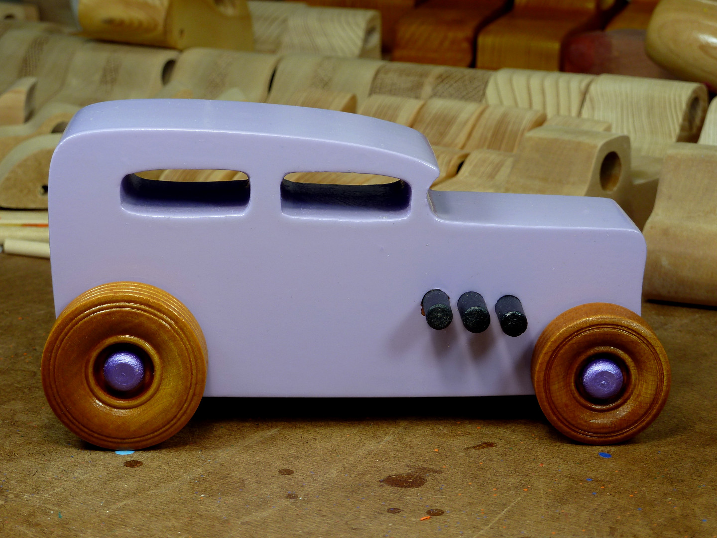 20170522-185822 Wooden Toy Car - Hot Rod Freaky Ford - 32 Sedan - MDF - Lavender - Amber Shellac - Metallic Purple 03.jpg