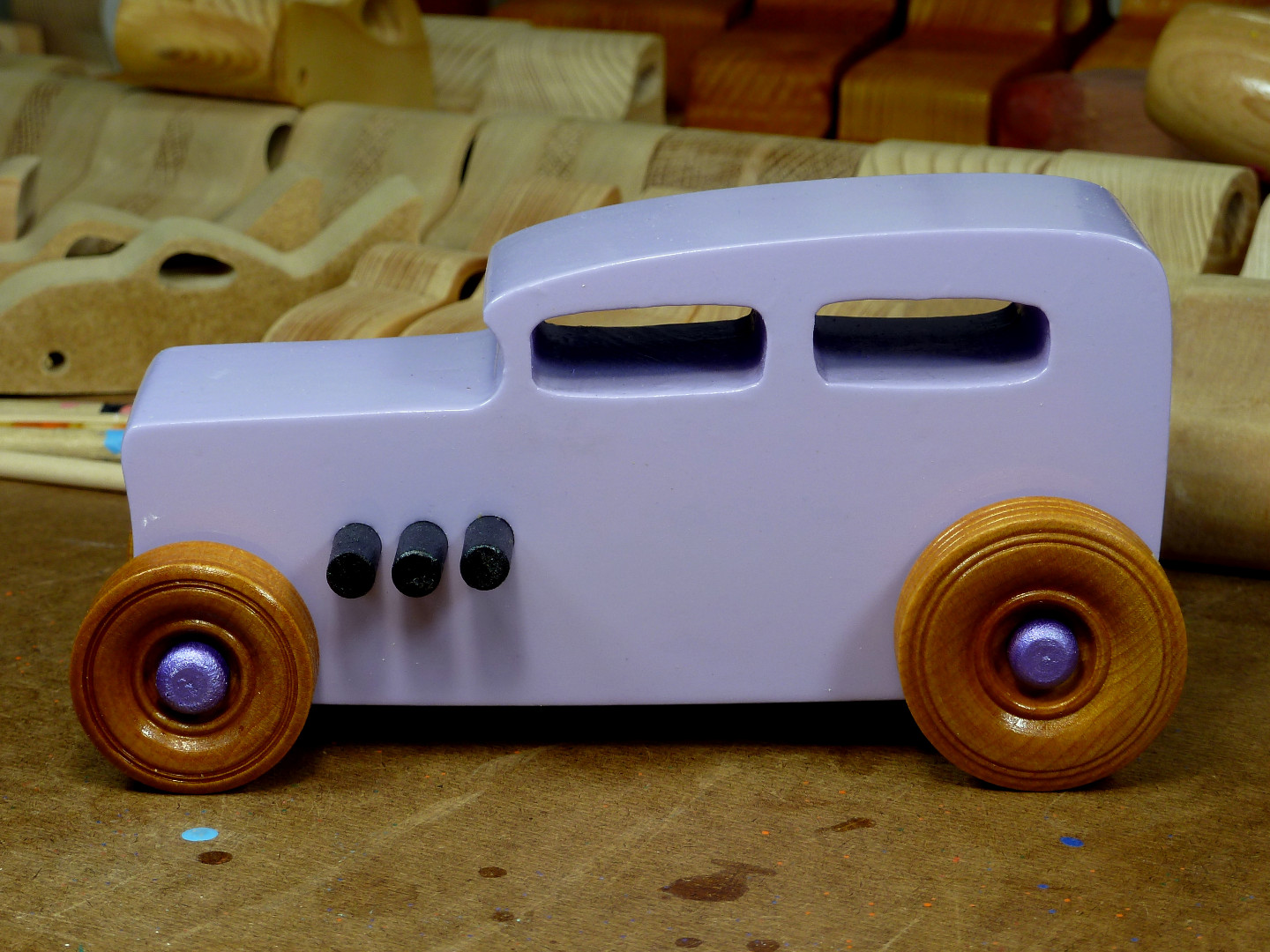 20170522-185841 Wooden Toy Car - Hot Rod Freaky Ford - 32 Sedan - MDF - Lavender - Amber Shellac - Metallic Purple 04.jpg