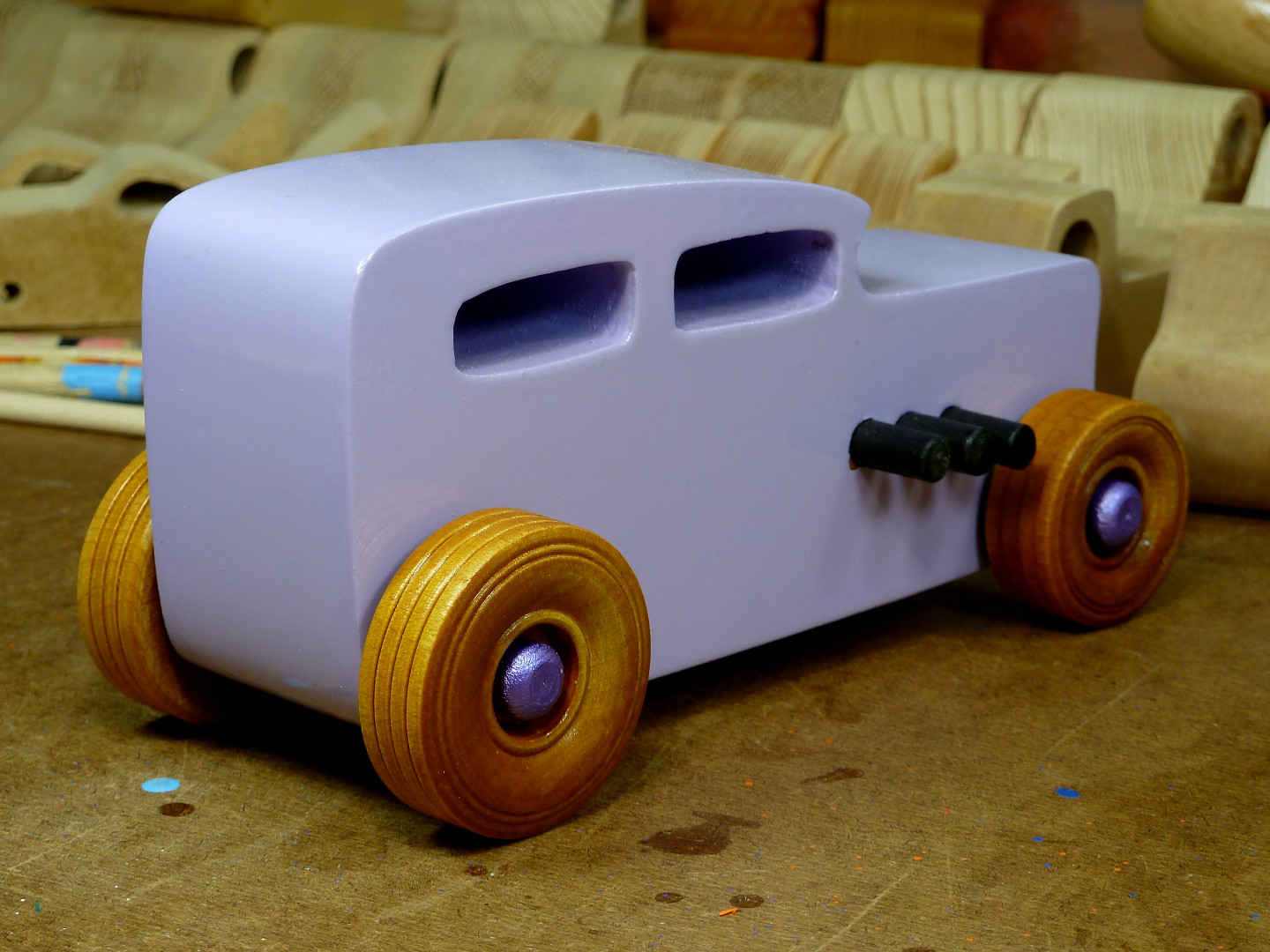 20170522-185923 Wooden Toy Car - Hot Rod Freaky Ford - 32 Sedan - MDF - Lavender - Amber Shellac - Metallic Purple 06.jpg