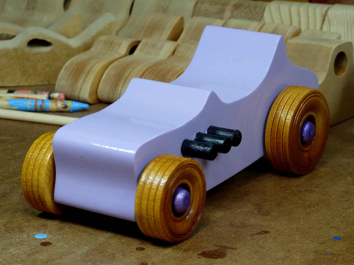 Wooden Toy Car - Hot Rod Freaky Ford - T Bucket - MDF - Lavender - Amber Shellac - Metallic Purple 01.jpg