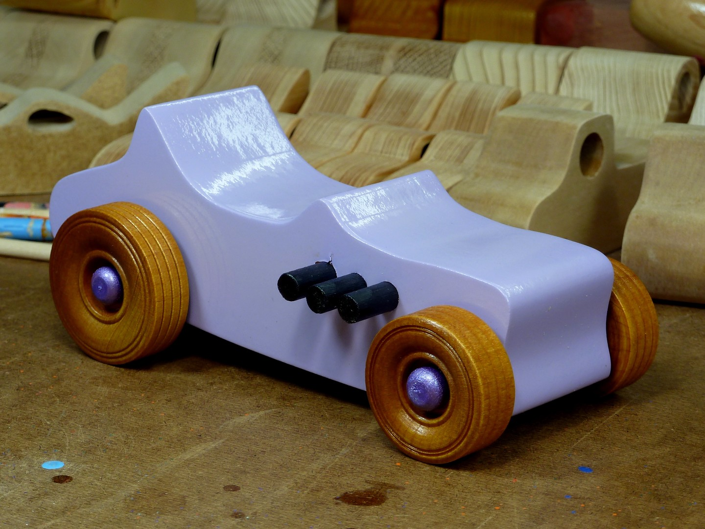Wooden Toy Car - Hot Rod Freaky Ford - T Bucket - MDF - Lavender - Amber Shellac - Metallic Purple 02.jpg