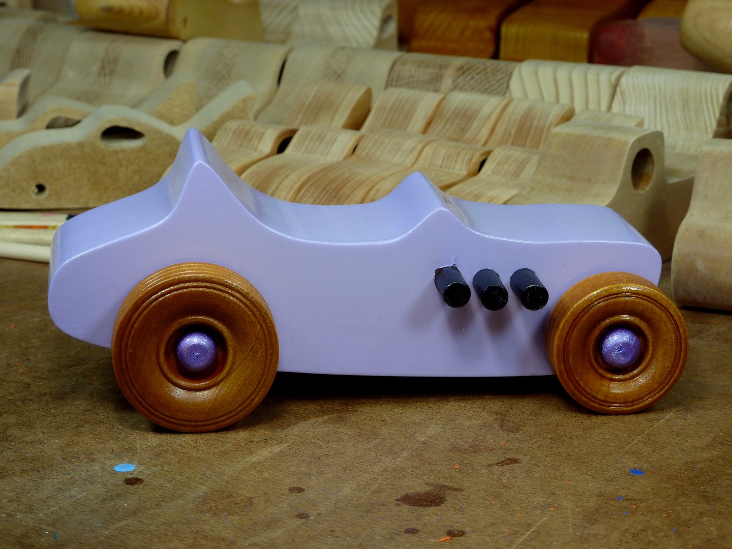 Wooden Toy Car - Hot Rod Freaky Ford - T Bucket - MDF - Lavender - Amber Shellac - Metallic Purple 03.jpg