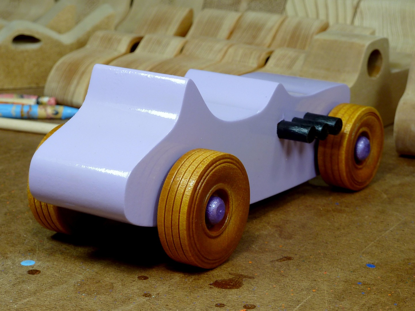 Wooden Toy Car - Hot Rod Freaky Ford - T Bucket - MDF - Lavender - Amber Shellac - Metallic Purple 04.jpg