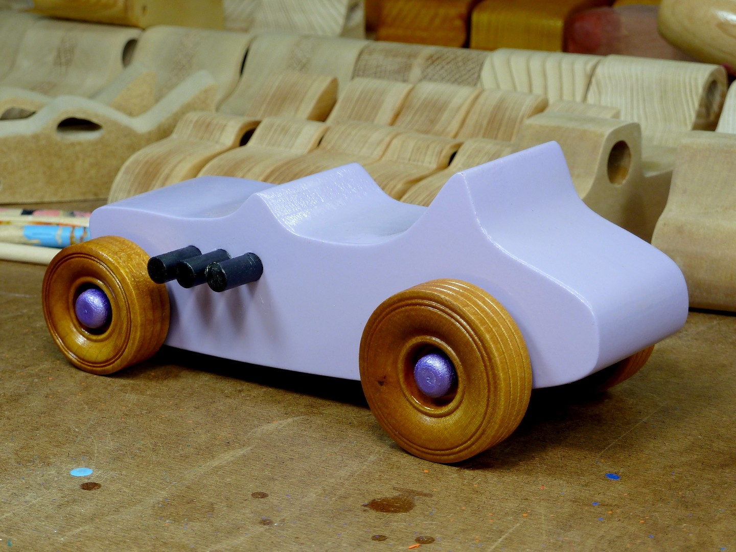 Wooden Toy Car - Hot Rod Freaky Ford - T Bucket - MDF - Lavender - Amber Shellac - Metallic Purple 05.jpg