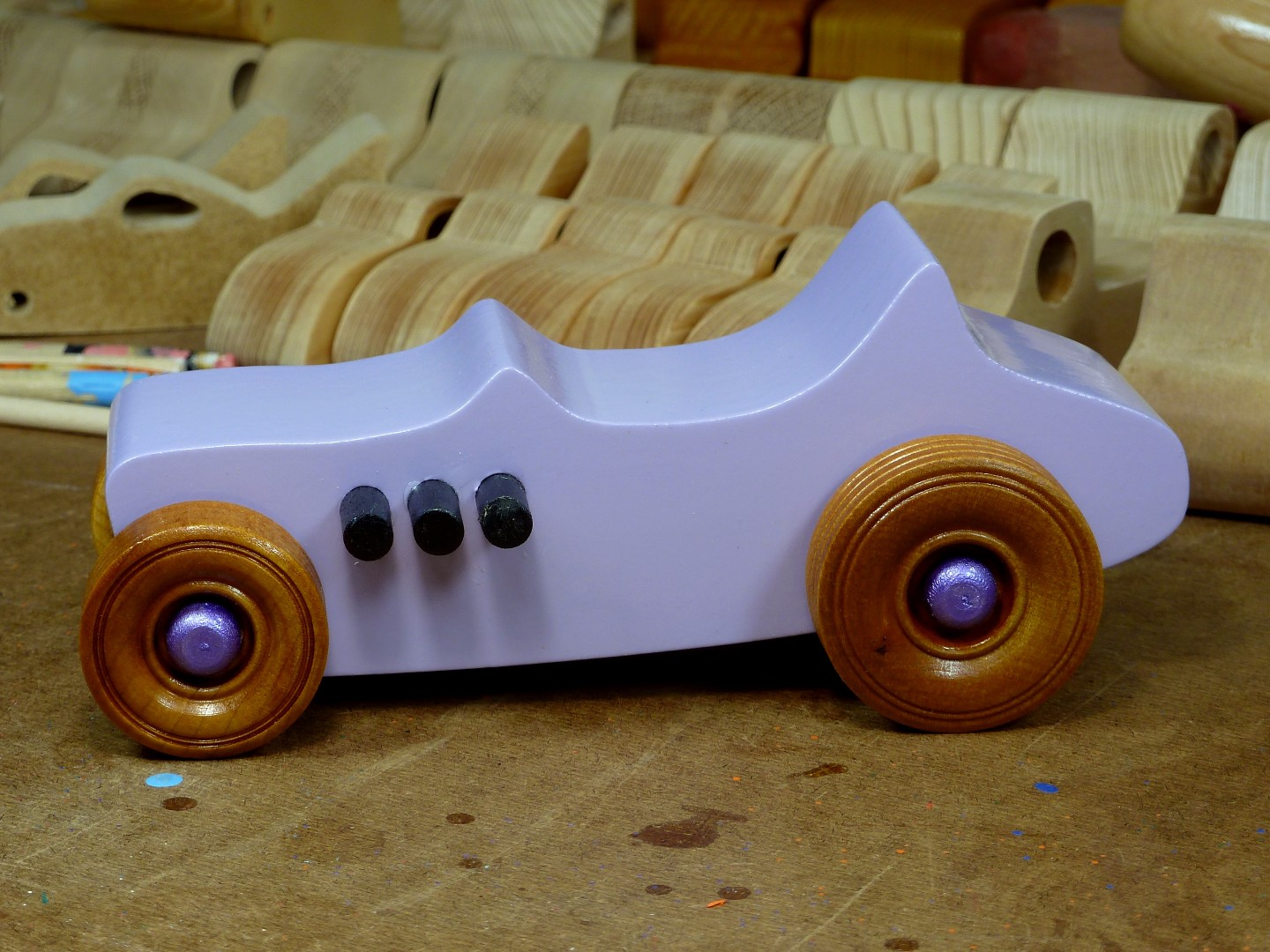 Wooden Toy Car - Hot Rod Freaky Ford - T Bucket - MDF - Lavender - Amber Shellac - Metallic Purple 06.jpg