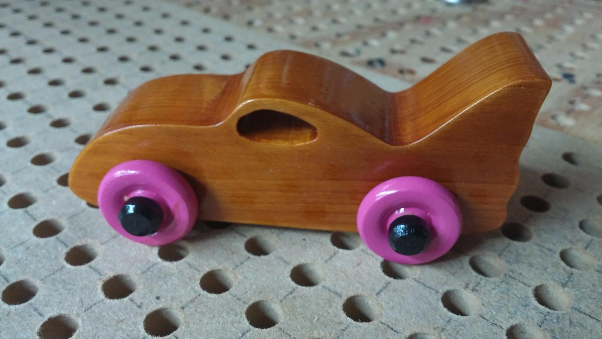 2017-08-05 14.13.07 2017-08-05 14.12.20 Wooden Toy Car - Bat Car - Pink Wheels - Odins Toy Factory.jpg