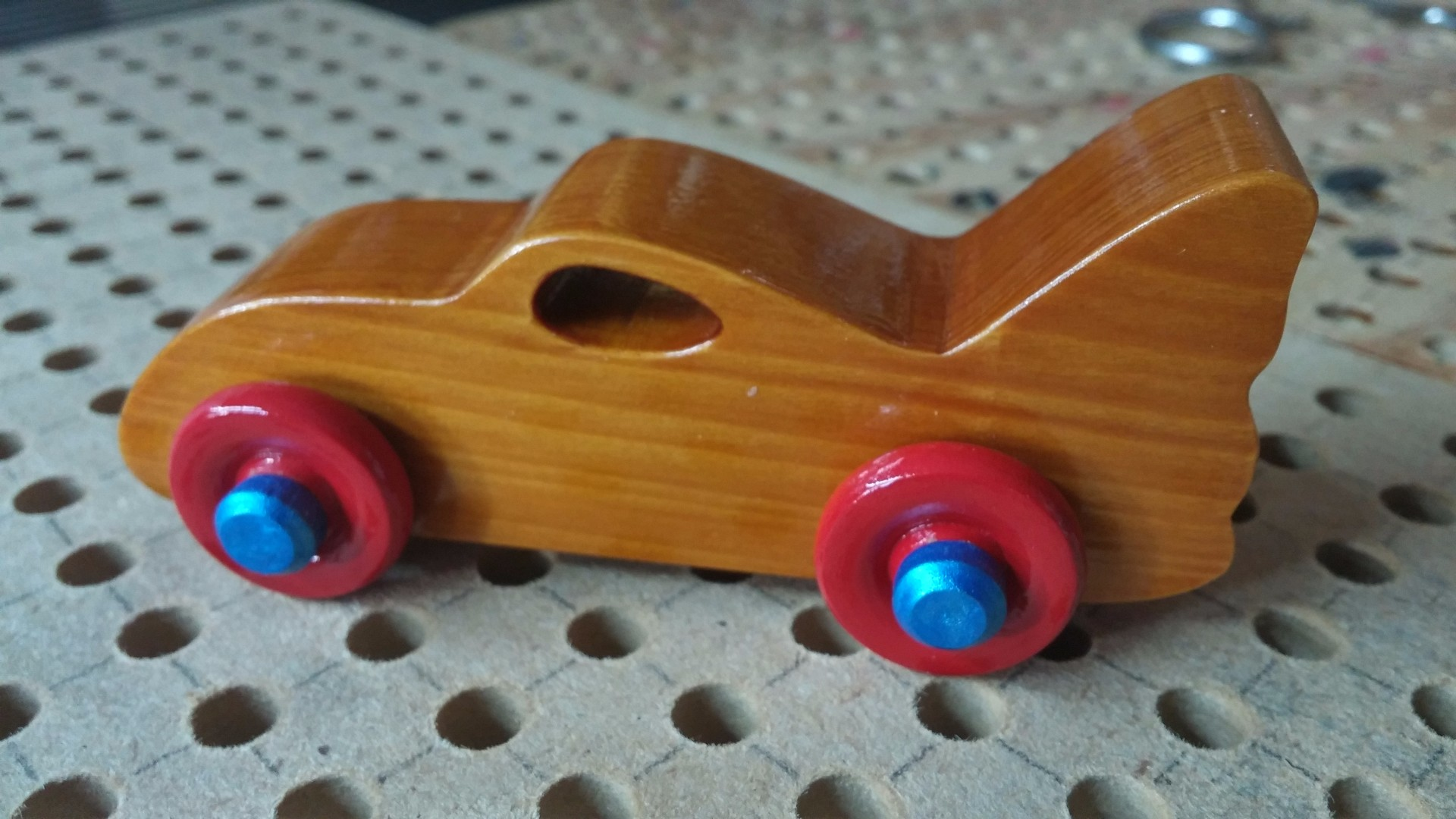 2017-08-05 14.28.19 Wooden Toy Car Play Pal - Bat Car - Shellac Red Wheels Blue Hubs.jpg
