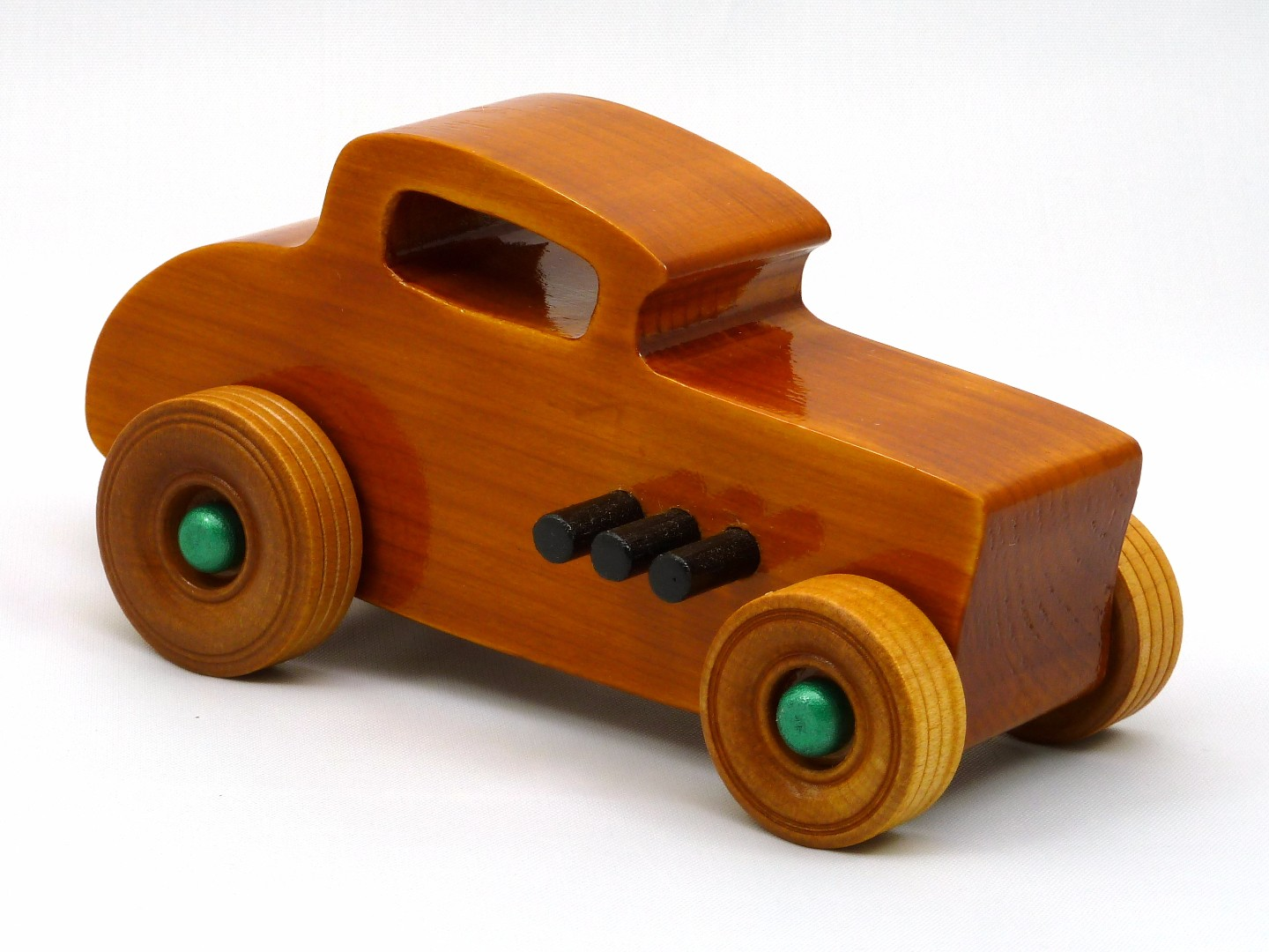 20170902-134437 Wooden Toy Car - Hot Rod Freaky Ford - 32 Deuce Coupe - Pine - Amber Shellac - Metallic Green.jpg