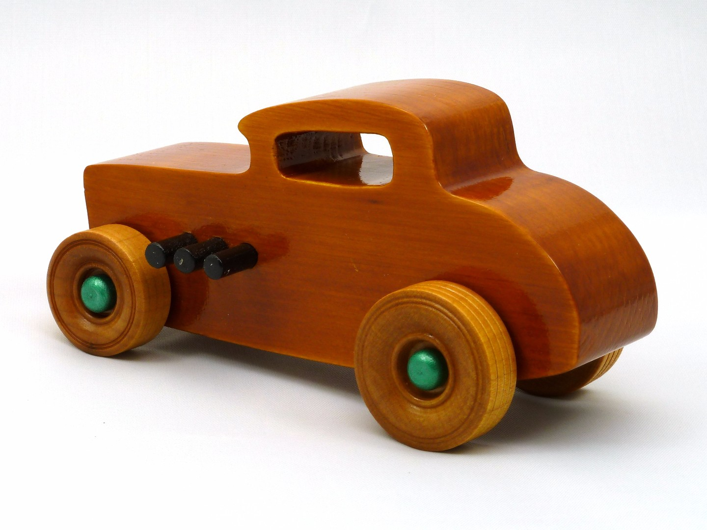 20170902-134230 Wooden Toy Car - Hot Rod Freaky Ford - 32 Deuce Coupe - Pine - Amber Shellac - Metallic Green.jpg