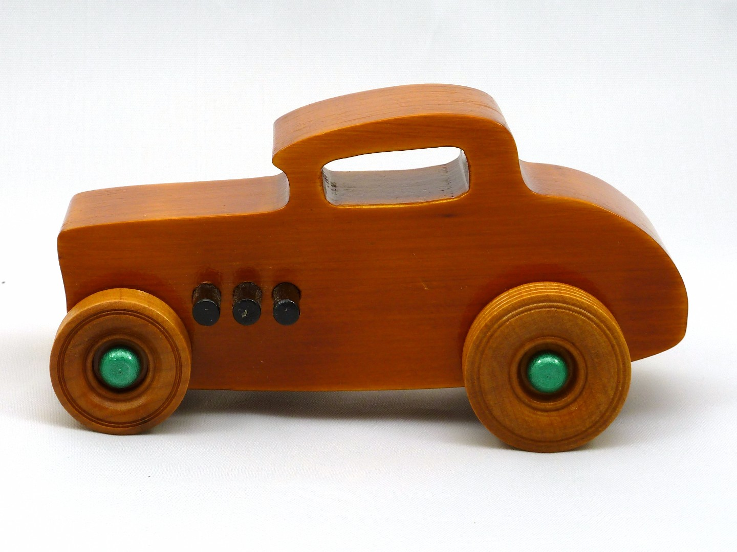 20170902-134207 Wooden Toy Car - Hot Rod Freaky Ford - 32 Deuce Coupe - Pine - Amber Shellac - Metallic Green.jpg