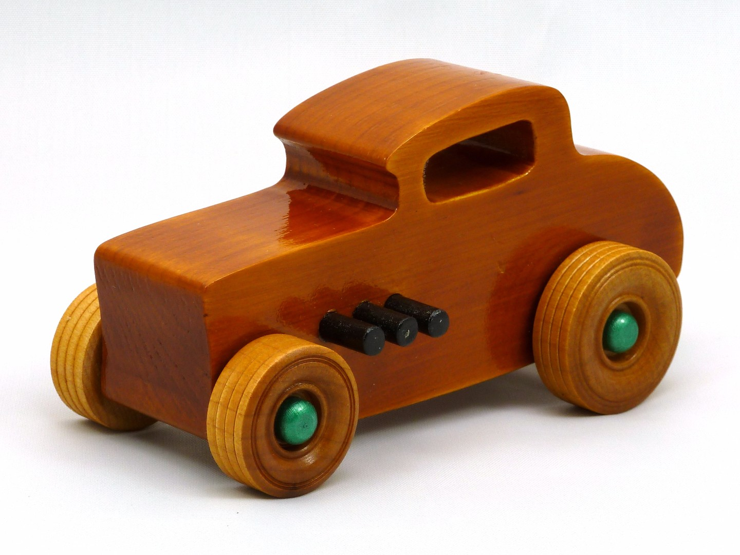20170902-134138 Wooden Toy Car - Hot Rod Freaky Ford - 32 Deuce Coupe - Pine - Amber Shellac - Metallic Green.jpg