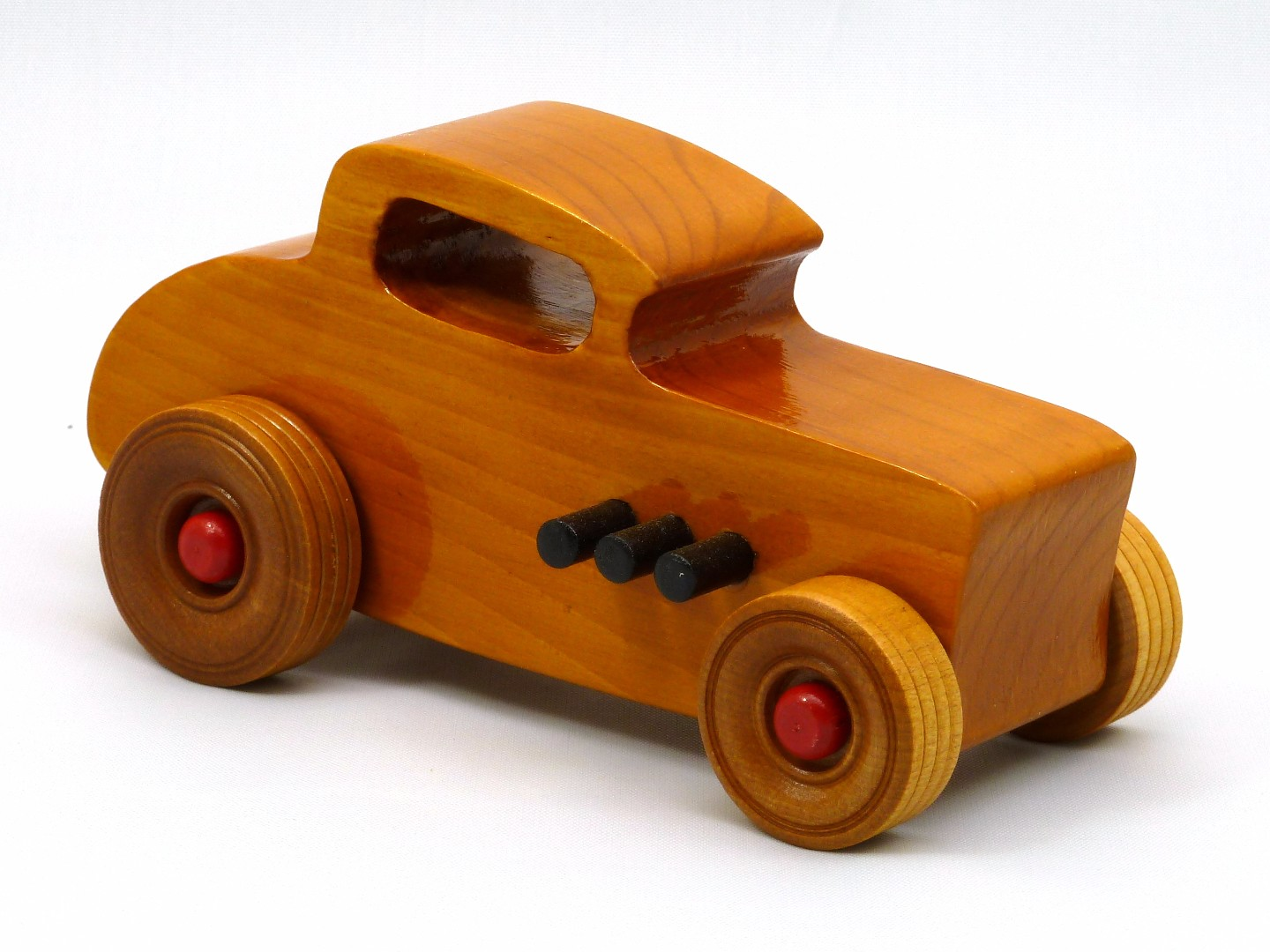 20170902-171902 Wooden Toy Car - Hot Rod Freaky Ford - 32 Deuce Coupe - Pine - Amber Shellac - Red.jpg