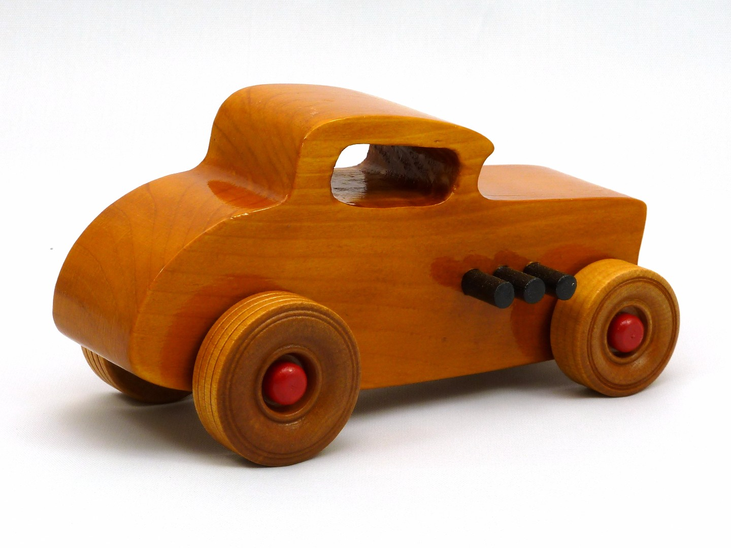 20170902-171630 Wooden Toy Car - Hot Rod Freaky Ford - 32 Deuce Coupe - Pine - Amber Shellac - Red.jpg