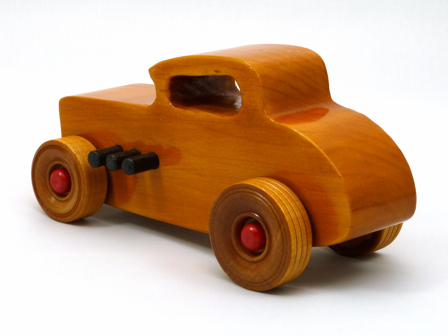 20170902-171530 Wooden Toy Car - Hot Rod Freaky Ford - 32 Deuce Coupe - Pine - Amber Shellac - Red.jpg