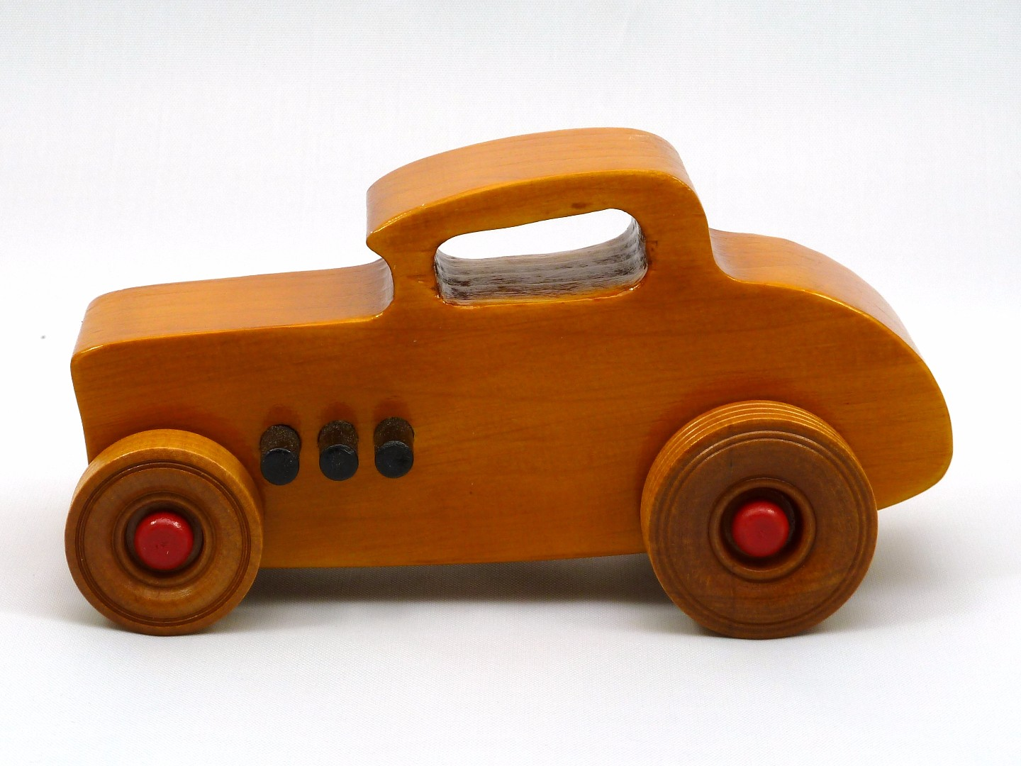 20170902-171505 Wooden Toy Car - Hot Rod Freaky Ford - 32 Deuce Coupe - Pine - Amber Shellac - Red.jpg