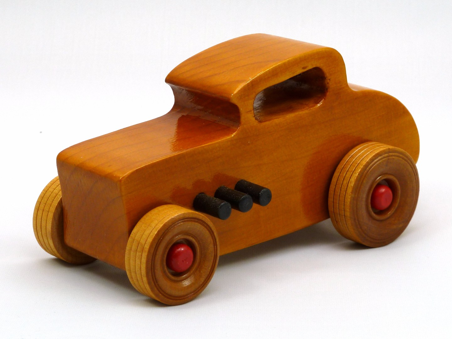 20170902-171438 Wooden Toy Car - Hot Rod Freaky Ford - 32 Deuce Coupe - Pine - Amber Shellac - Red.jpg