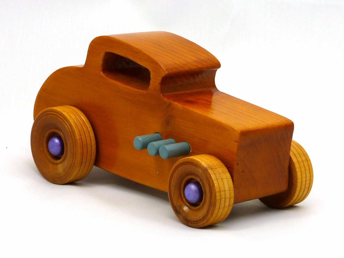20170902-192407 Wooden Toy Car - Hot Rod Freaky Ford - 32 Deuce Coupe - Pine - Amber Shellac - Purple Metallic - Gray Exhaust.jpg