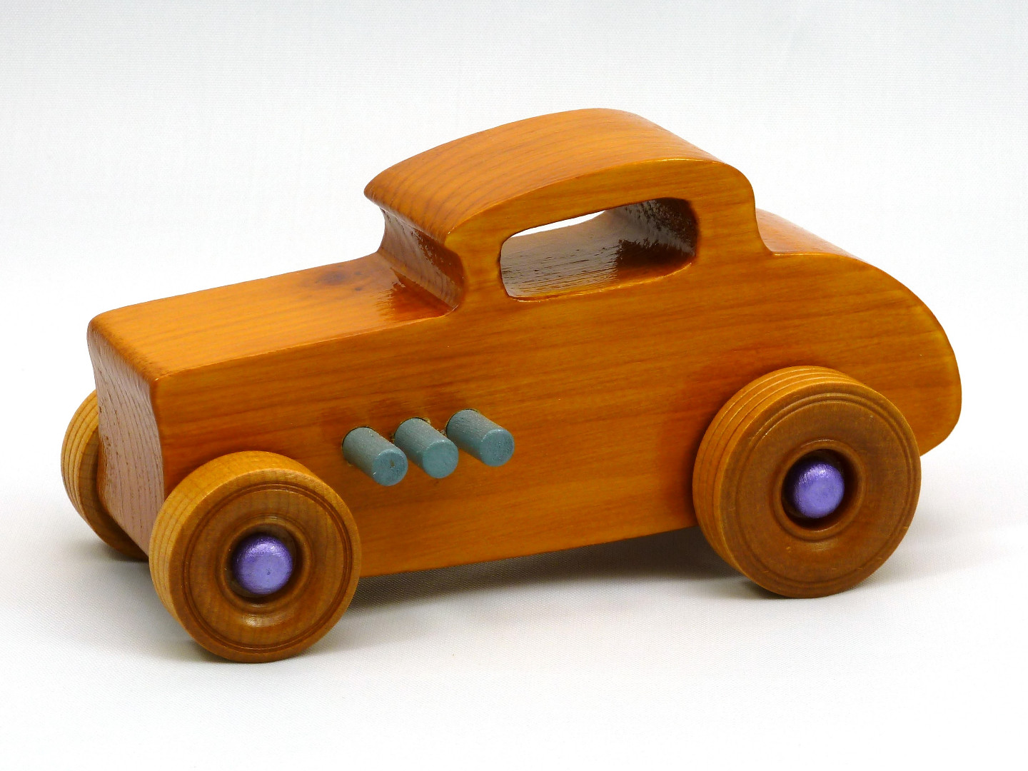 20170902-192035 Wooden Toy Car - Hot Rod Freaky Ford - 32 Deuce Coupe - Pine - Amber Shellac - Purple Metalic - Gray.jpg