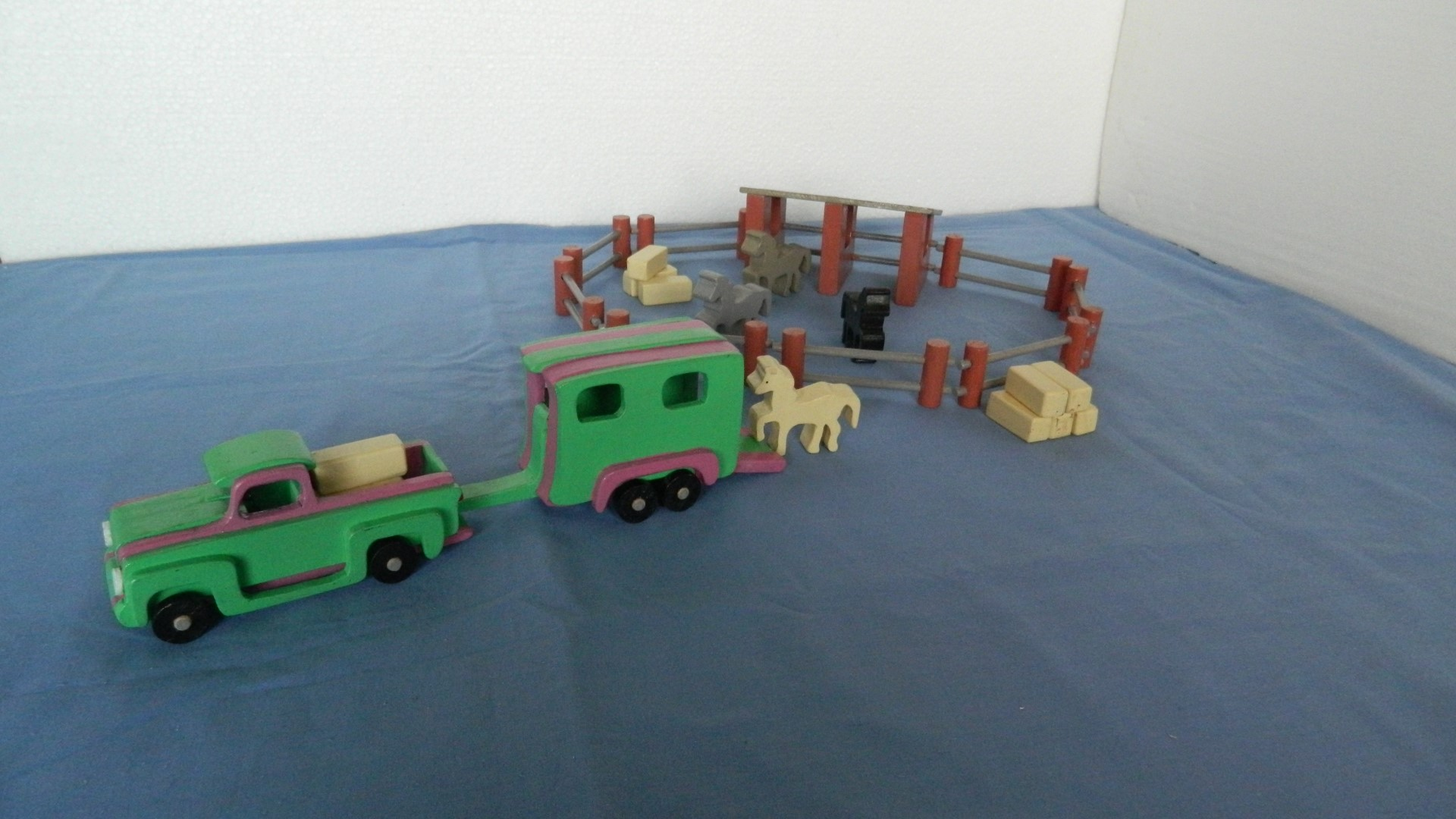 1955 Pick Up, Pony Trailer, Pony Stable, Corral, Hay Bales & Ponies1.jpg