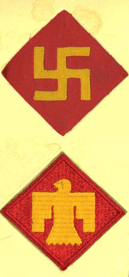 45th Division shoulder patches - Swastika and Thunderbird.jpg