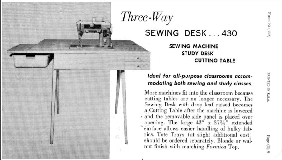 Singer Profile cabinet showing plastic tub -  Sales catalog 1959.jpg