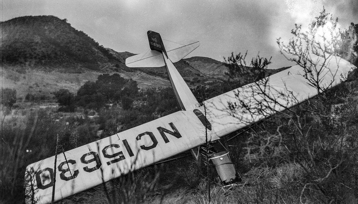 Taylor Cub aircraft is found crashed in Mint Canyon.jpg