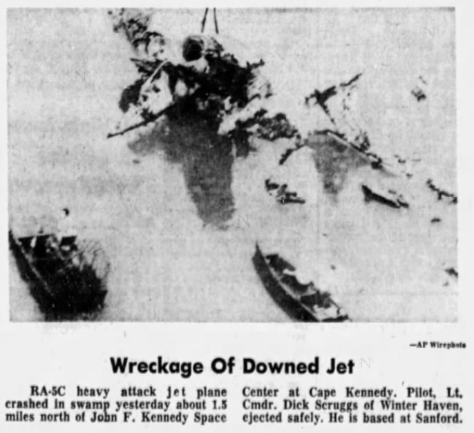 RA-5 C Near KSC FL 3 Oct 1967 [The Tampa Times 4 Oct 67 pg 2].jpg