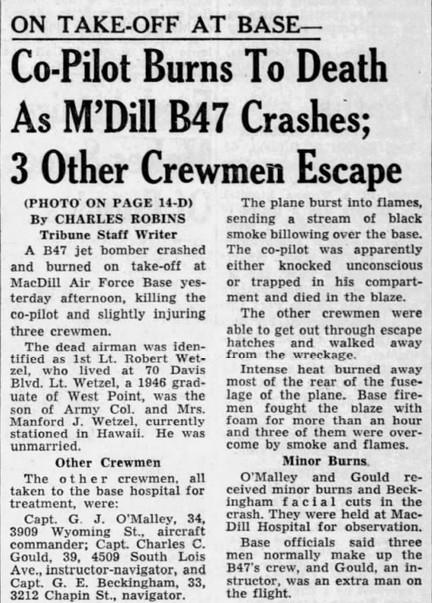 B-47 crash on Takeoff McDill 6 May 1959 [Tampa Tribune 7 May 59 pg 1].jpg