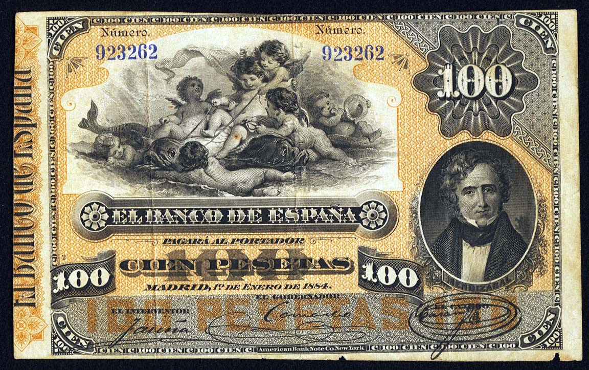 100 peseta 1884 Spain w Galatea.jpg