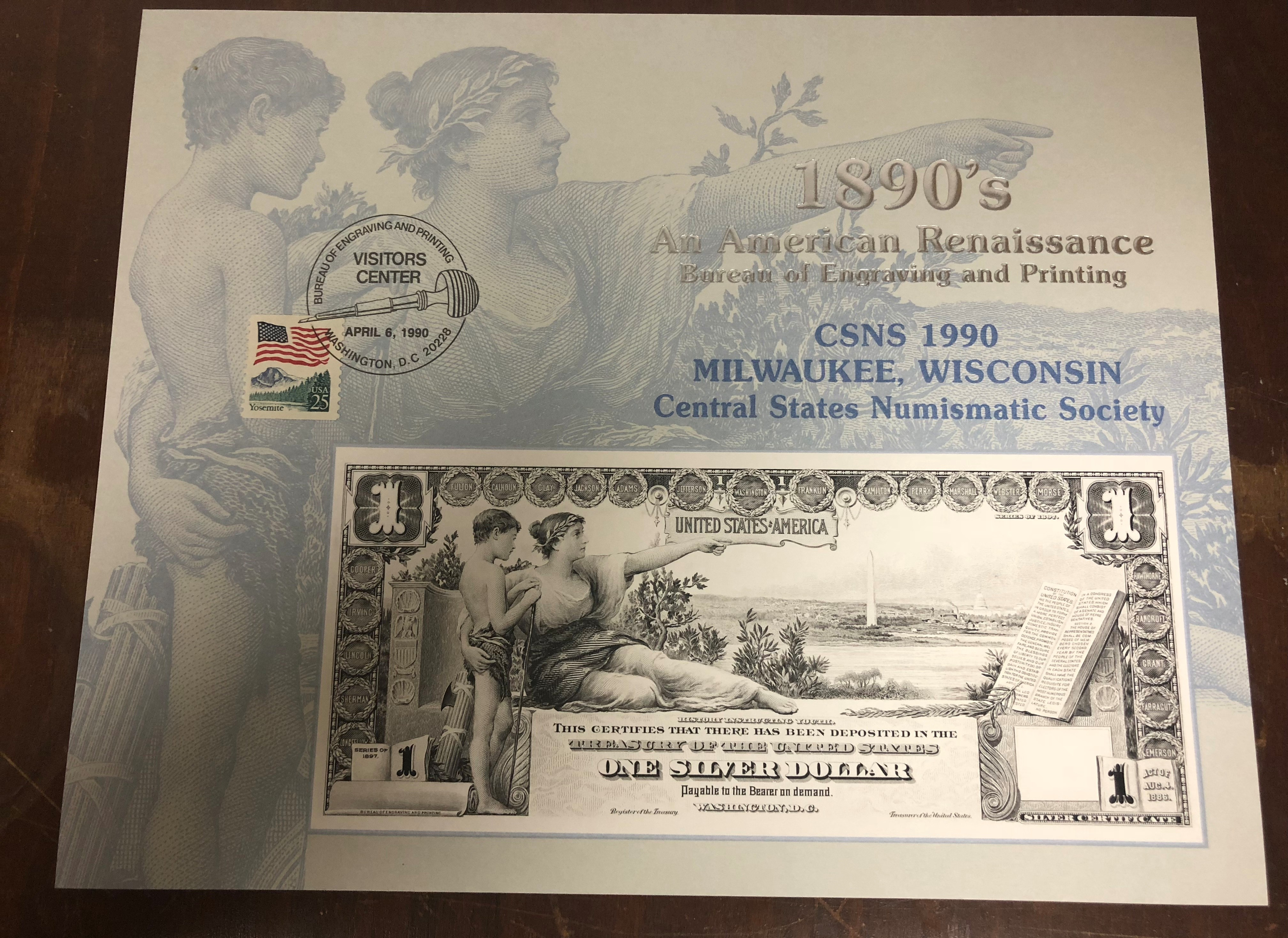 B136 CSNS $1 Silver Certificate Am Renaissance 1990 VC Cancel.jpg