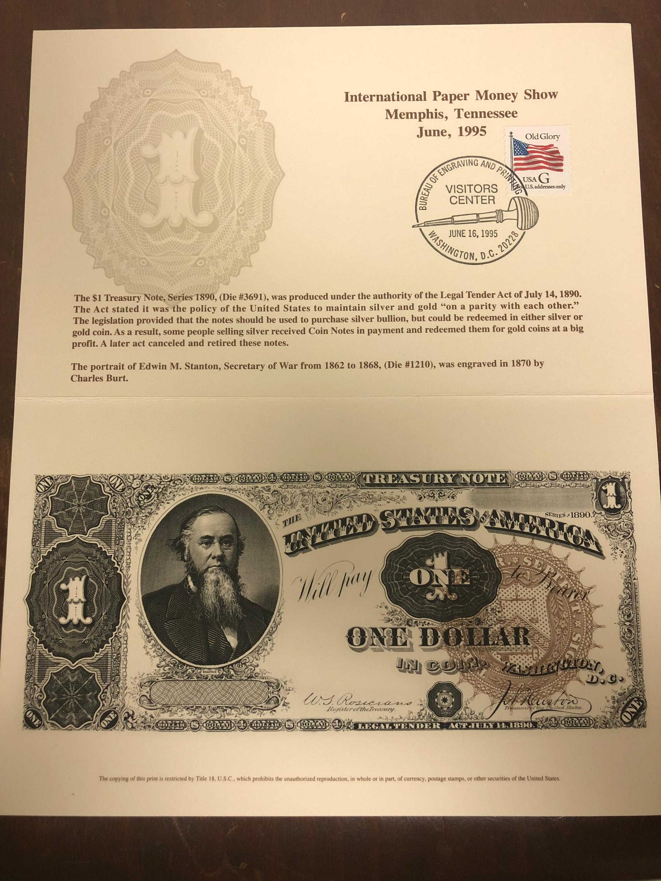 B-196 IPMS $1 Coin Series 1890 Edwin M. Stanton 1995 VC Cancel.jpg