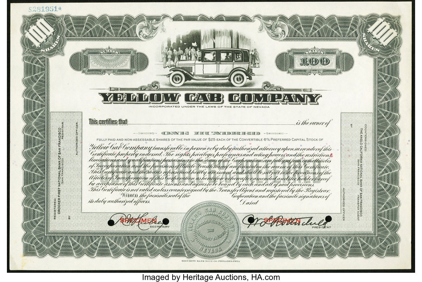 Yellow Cab Stock Certificate 100 Shares ND Specimen About Uncirculated.jpg