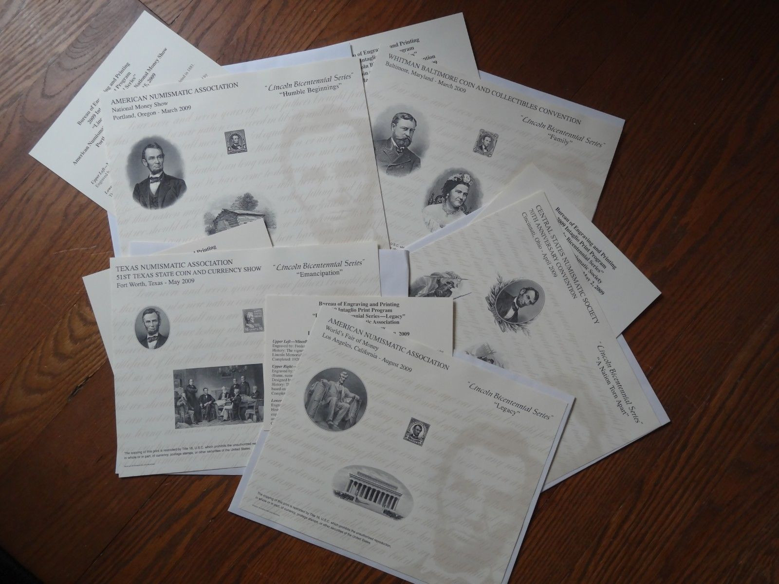 Lincoln souvenir cards 2009.jpg