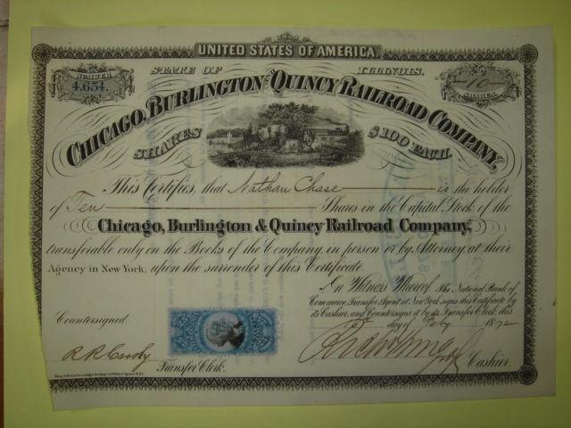 Rare Chicago, Burlington and Quincy Railroad Company - Blue Stamp Illi.jpg