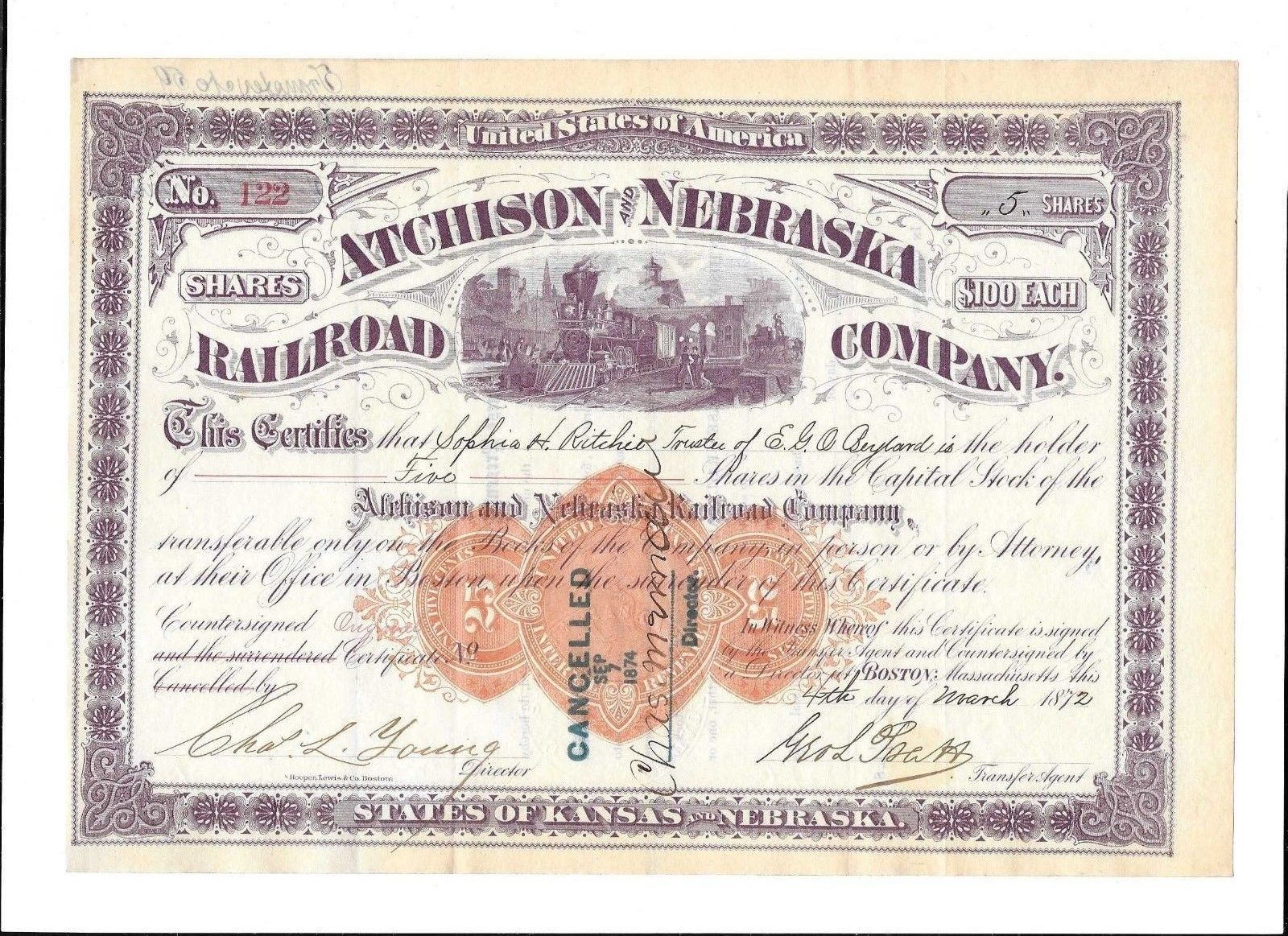 ATC-429-S-40  ic  $50  1872 Atchison and Nebraska Railroad train (funn.jpg