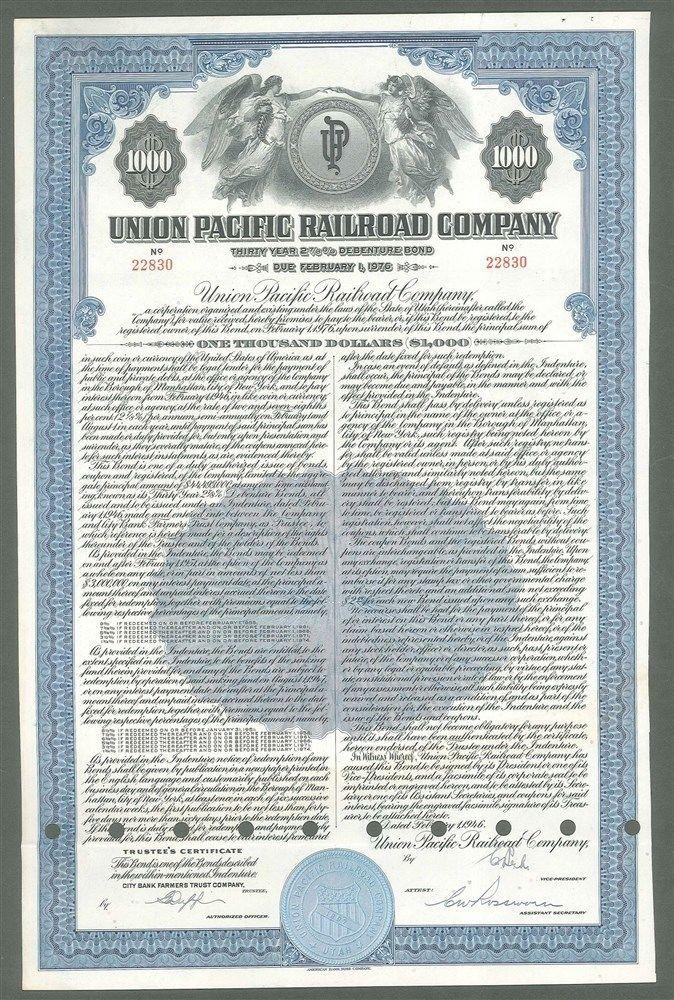 UNI-286b-B-95 ic $50  Union Pacific Railroad Company $1000 Bond 1946 $.jpg