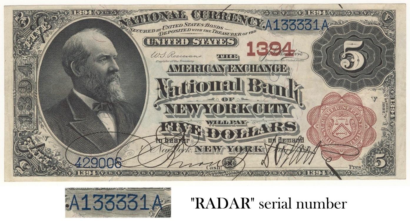 NY, NY, 82BB, ch.1394, Amer. Exch NB, $5,  RADAR, A133331A.jpg