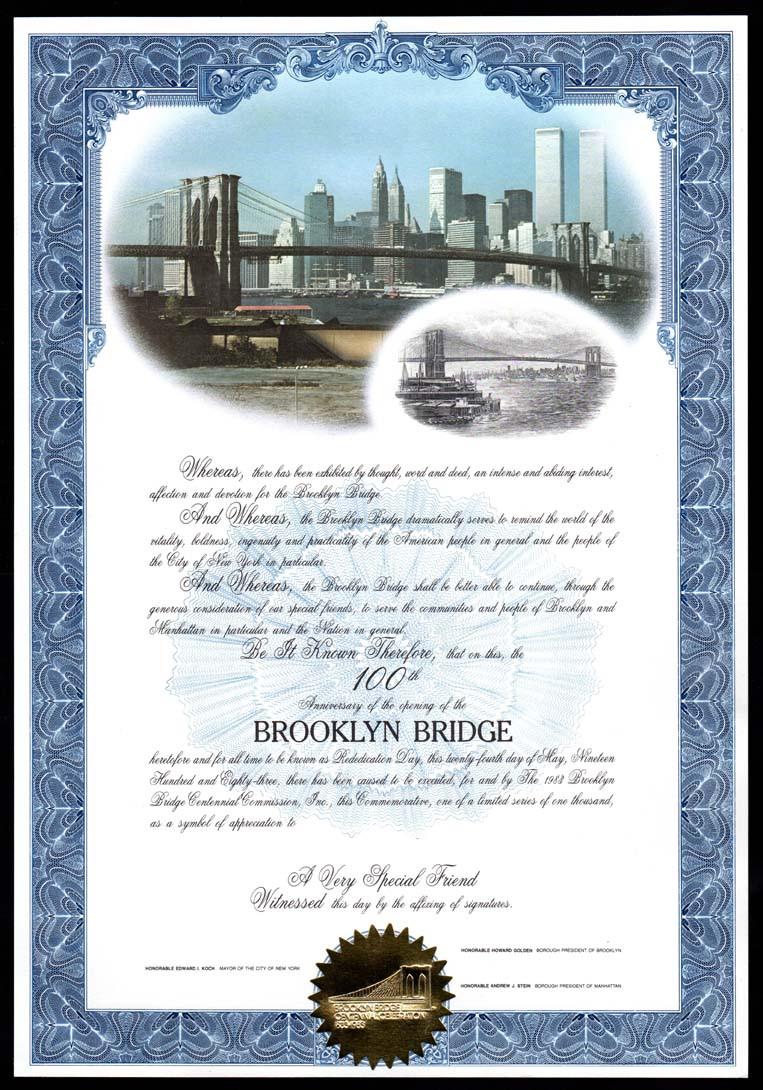 1983 Brooklyn Bridge Certif.jpg