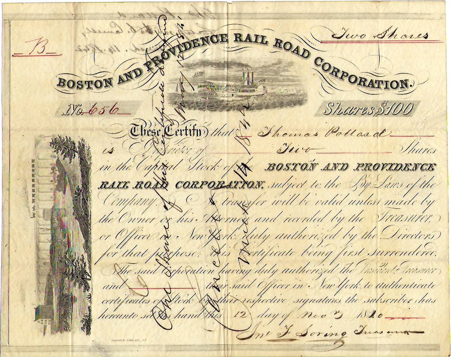 Boston and Providence Rail Road Corp Stock 1840 $29.97 BOS-649-S-50 IC.jpg