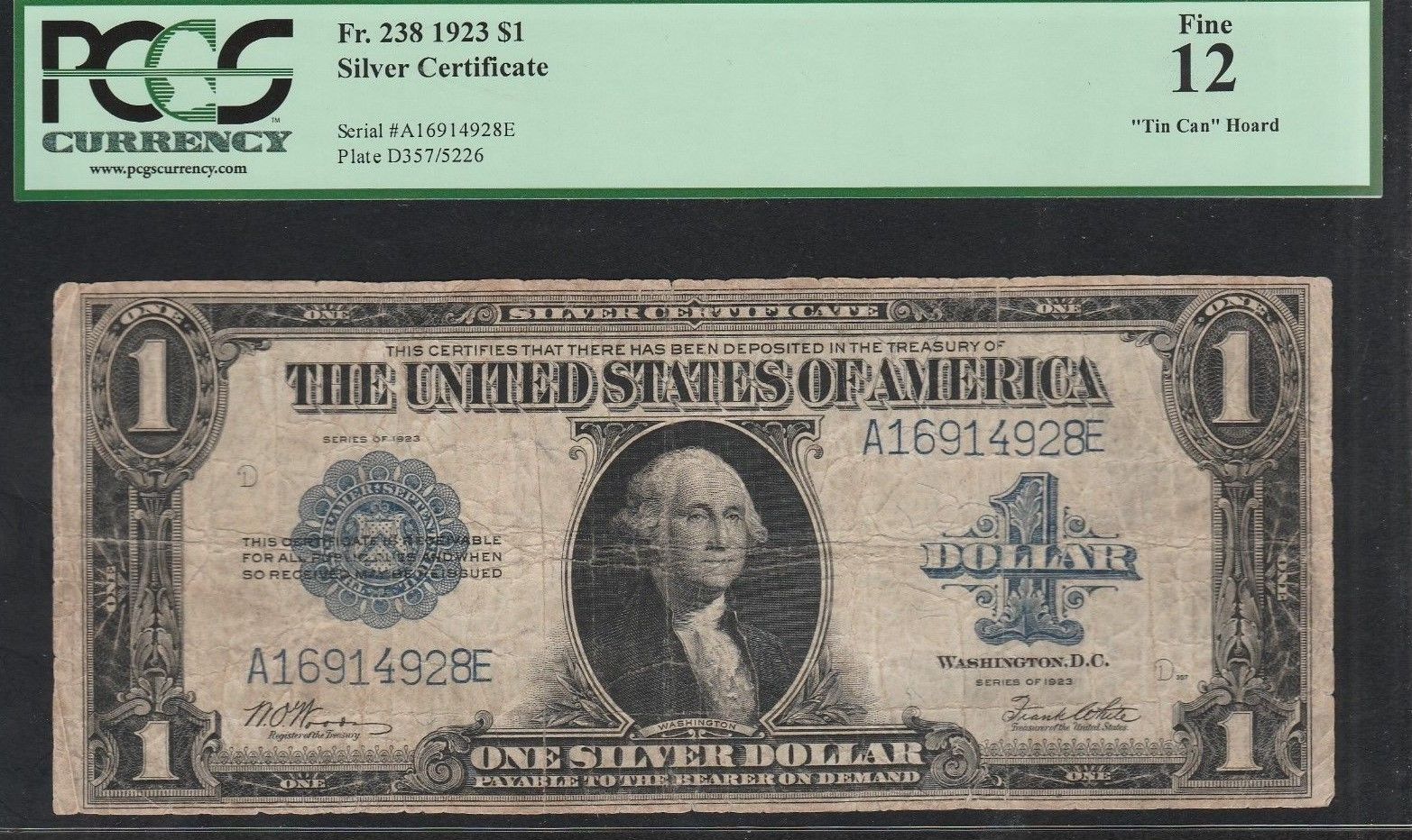 1 1923 SILVER CERTIFICATE LARGE SIZE PCGS 12 TIN CAN HOARD $22.08 obv.jpg